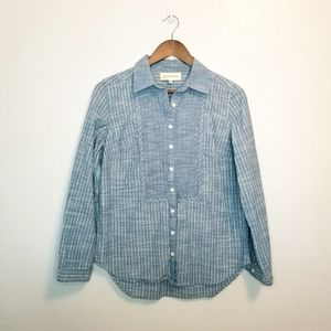 Jones New York striped chambray button up shirt